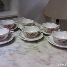 Vintage: BONITO JUEGO DE TE O CAFE 6. EN CERÁMICA. MEDIDAS TAZA DIÁMETRO 8 CM ALTO 3.5 CM PLATO DIAM 11 CM. Lote 253707710