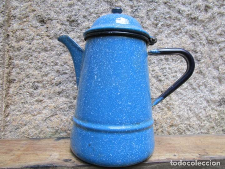 Vintage: ANTIGUA CAFETERA HIERRO ESMALTADO GRANITADO BLANCO - DE LOS 50S, VERFOTOS, APROX 1L + INFO - Foto 2 - 254586165