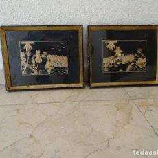Vintage: PAREJA DE CUADROS PAISAJES CARIBE HAWAI HECHOS CON PAJA, AÑOS 1960, VINTAGE. Lote 254810685
