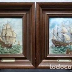 Vintage: 2 CUADROS ENMARCADOS GALEONES SOBRE METAL ESMALTADO - CUADRO-398. Lote 257316040