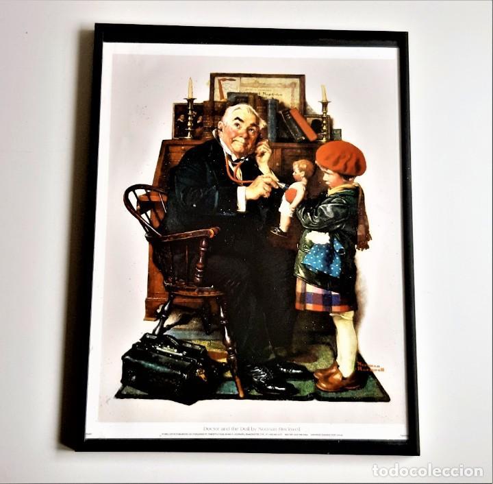 LAMINA PINTURA ENMARCADA EN MARCO ALUMINIO CON CRISTAL - 31 X 41.CM (Vintage - Decoración - Varios)