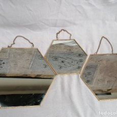 Vintage: LOTE DE ESPEJOS EXAGONALES CON MARCO ALUMINIO. Lote 258217635
