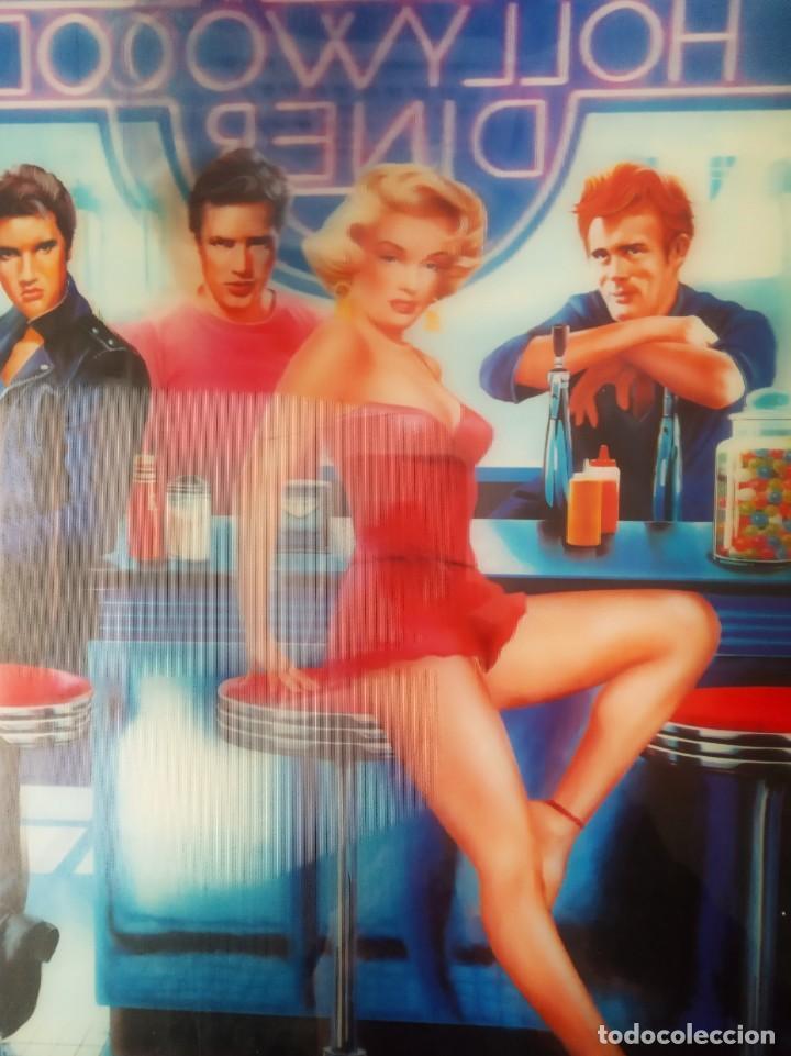 Vintage: CUADRO IMPRESIÓN 3D - LAMINA ENMARCADA -MARILYN, ELVIS, JAMES DEAN Y MARLON BRANDO- 50S DINER - Foto 5 - 261116705