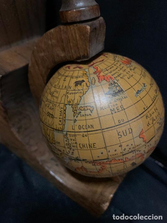 Vintage: Preciosa pareja de sujetalibros en madera, globo terraqueo o bolas del mundo. Excelente estado - Foto 6 - 261118015
