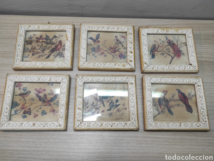 6 CUADROS PEQUEÑOS PÁJAROS Y MARIPOSAS (Vintage - Decoración - Varios)