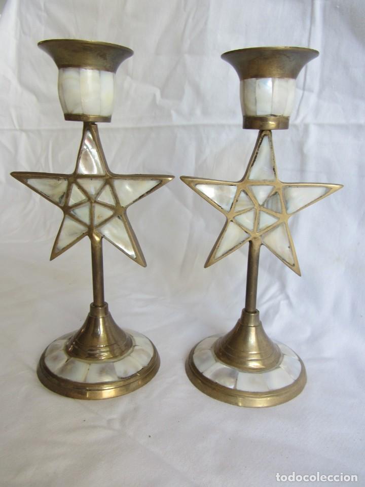 Vintage: Pareja de portavelas de bronce y nácar, estrella pentagonal, pentagrama - Foto 2 - 262423735
