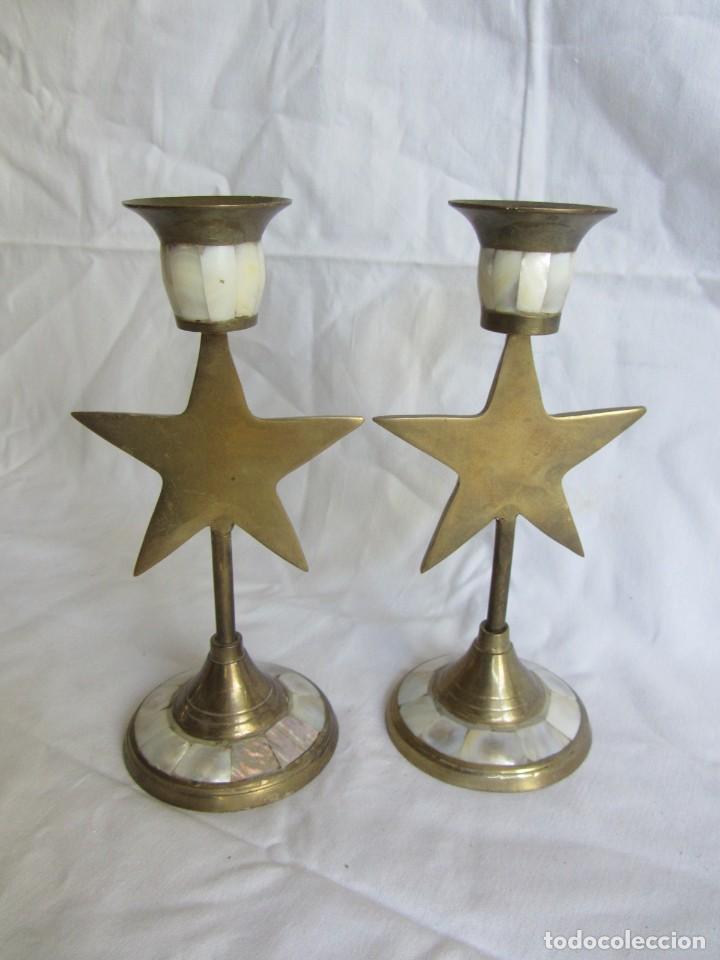 Vintage: Pareja de portavelas de bronce y nácar, estrella pentagonal, pentagrama - Foto 6 - 262423735