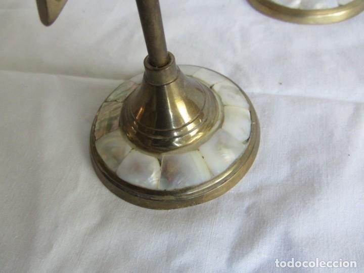Vintage: Pareja de portavelas de bronce y nácar, estrella pentagonal, pentagrama - Foto 10 - 262423735