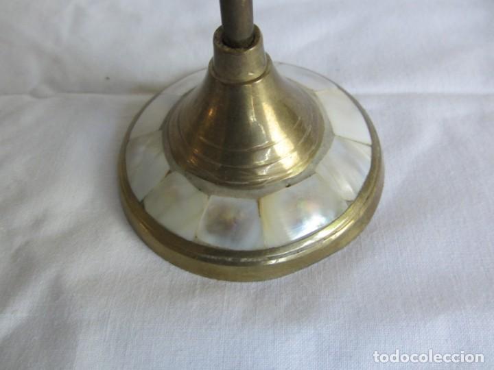 Vintage: Pareja de portavelas de bronce y nácar, estrella pentagonal, pentagrama - Foto 12 - 262423735