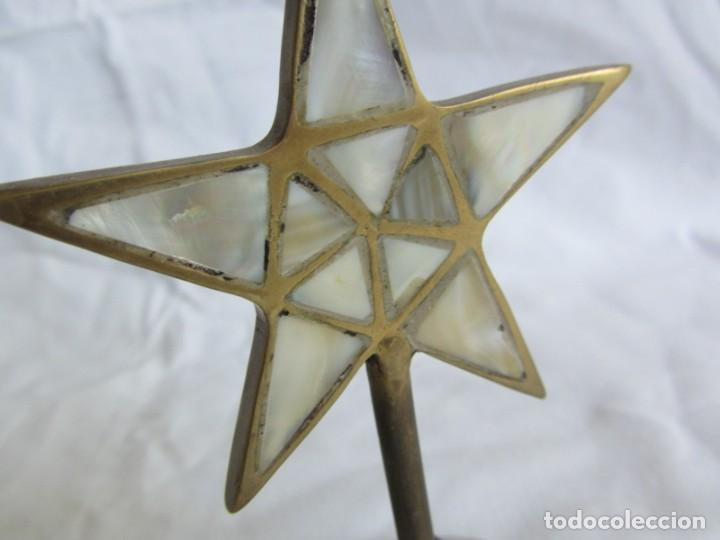 Vintage: Pareja de portavelas de bronce y nácar, estrella pentagonal, pentagrama - Foto 13 - 262423735
