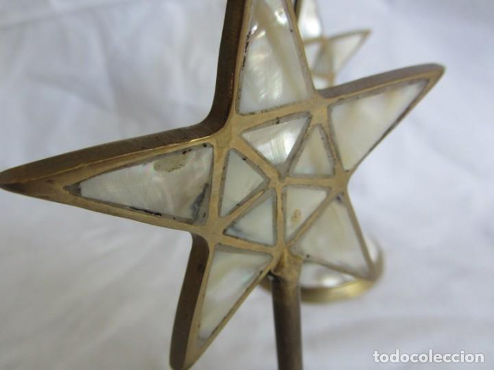 Vintage: Pareja de portavelas de bronce y nácar, estrella pentagonal, pentagrama - Foto 14 - 262423735