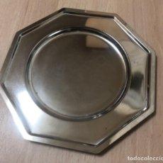 Vintage: BANDEJA OCTOGONAL EN METAL PLATEADO. Lote 262955700