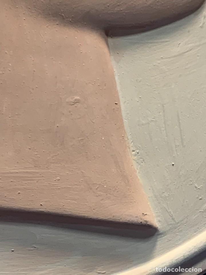 Vintage: PLACA ESCAYOLA GRAN MEDALLON OVAL NEOCLASICO MUJER DIOSA PERFIL LAUREA 48X42CMS - Foto 11 - 263176985