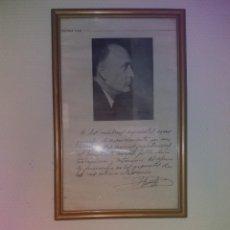 Vintage: CURIOSO Y PECULIAR CUADRO DEL MINISTRO LICINIO DE LA FUENTE CON DEDICATORIA A LOS MEDICOS. Lote 264104945