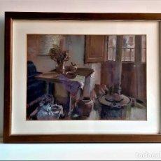 Vintage: IMPRESION LAMINA DECORACION EN MARCO MADERA CON CRISTAL MUY PESADO - 60 X 48.CM. Lote 267372359