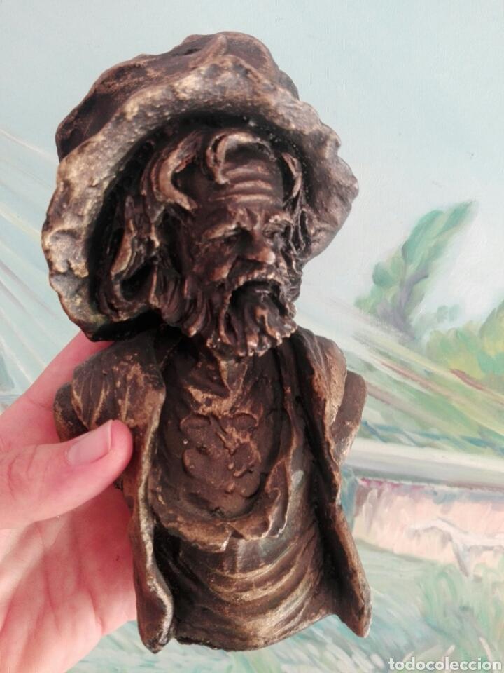 Vintage: Busto de resina, figura decoración rostro hombre con sombrero - Foto 2 - 267863264