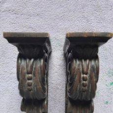 Vintage: BONITA PAREJA DE MÉNSULAS DE MADERA.. Lote 270127038