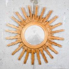 Vintage: ESPEJO SOL MADERA DORADO 84CM. Lote 274742038