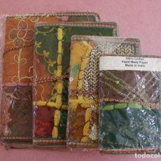 Vintage: JUEGO DE 4 LIBRETAS BLOCKS DE NOTAS ENCUADERNADAS Y REALIZADAS ARTESANAMENTE CON TELAS DE LA INDIA. Lote 275918468