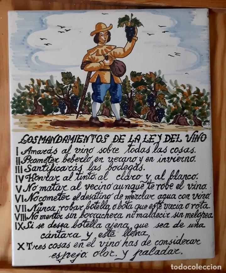 AZULEJO LOS MANDAMIENTOS DE LA LEY DEL VINO (Vintage - Decoración - Varios)