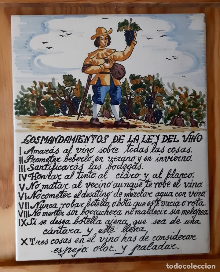Vintage: AZULEJO LOS MANDAMIENTOS DE LA LEY DEL VINO - Foto 2 - 276169708