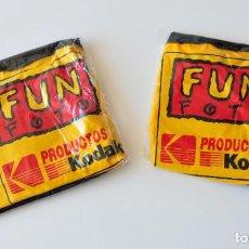 Vintage: DOS PELOTAS HINCHABLES VINTAGE PUBLICIDAD DE PRODUCTOS KODAK FUN FOTO. NUEVAS, PRECINTADAS. Lote 277202363