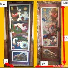 Vintage: PRECIOSA PUERTA ACRISTALADA CON ACETATOS TRASPARENTES PARA INTERIOR CON DECORACIÓN ACUATICA.. Lote 285999583