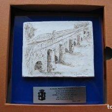 Vintage: ESCULTURA RELIEVE SOBRE LAMINA PETREA DEL FAMOSO ESCULTOR JAVIER SANZ DEL CANAL DE CASTILLA ENCARGA. Lote 287213553
