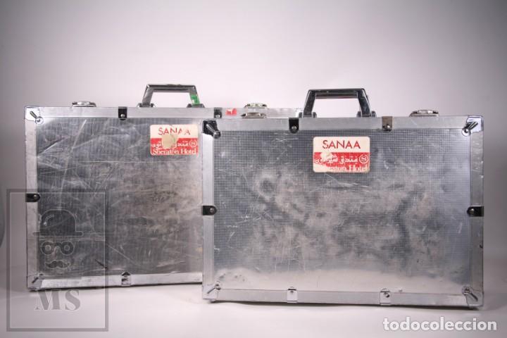 Vintage: Pareja de Maletas Grandes de Viaje Aluminio Años 80 - Transporte de Equipos Profesionales - Foto 2 - 287696478