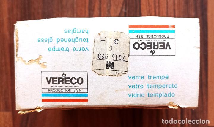 Vintage: ANTIGUO JUEGO DE 6 HUEVERAS EN CRISTAL AMBAR DE VERECO - FRANCIA. EN SU CAJA ORIGINAL - Foto 6 - 287699658