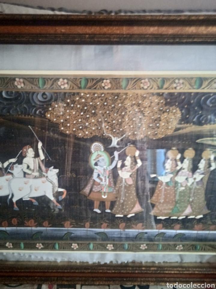 Vintage: Cuadro seda hindu enmarcado - Foto 2 - 287701233