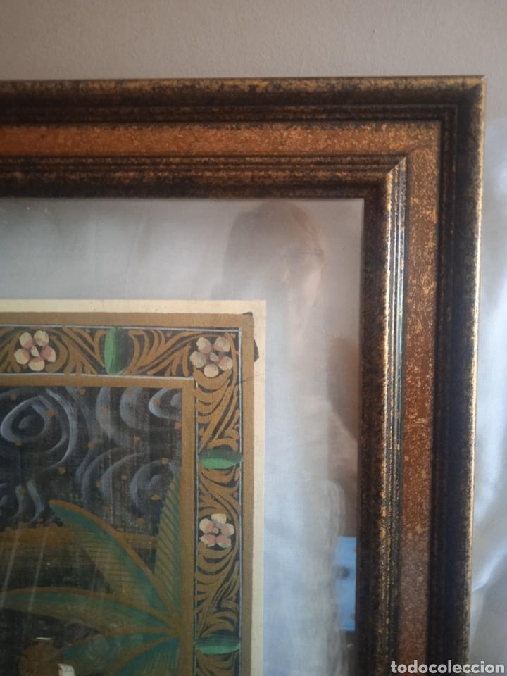 Vintage: Cuadro seda hindu enmarcado - Foto 3 - 287701233