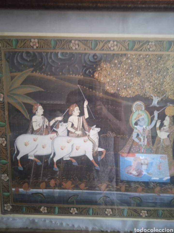 Vintage: Cuadro seda hindu enmarcado - Foto 5 - 287701233