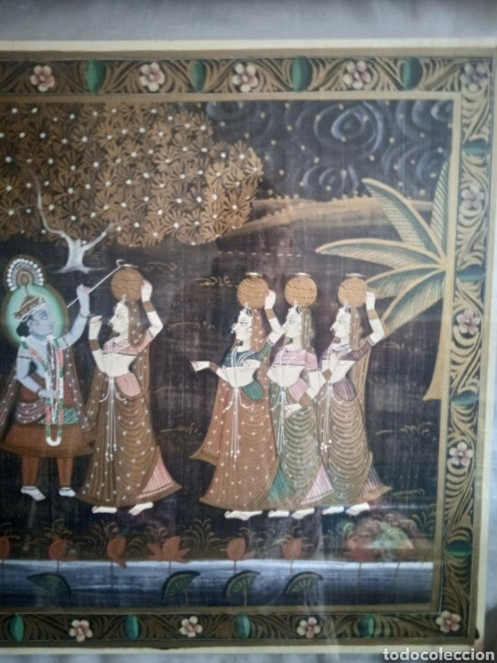 Vintage: Cuadro seda hindu enmarcado - Foto 7 - 287701233
