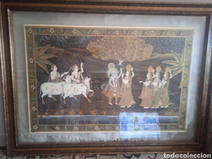 CUADRO SEDA HINDU ENMARCADO (Vintage - Decoración - Varios)