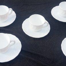 Vintage: JUEGO CAFE OPALINA BLANCA VINTAGE. Lote 287907888