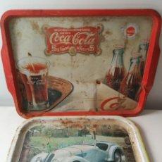 Vintage: BANDEJAS DE HOJALATA VINTAGE COCA COLA Y BMW. Lote 288608963