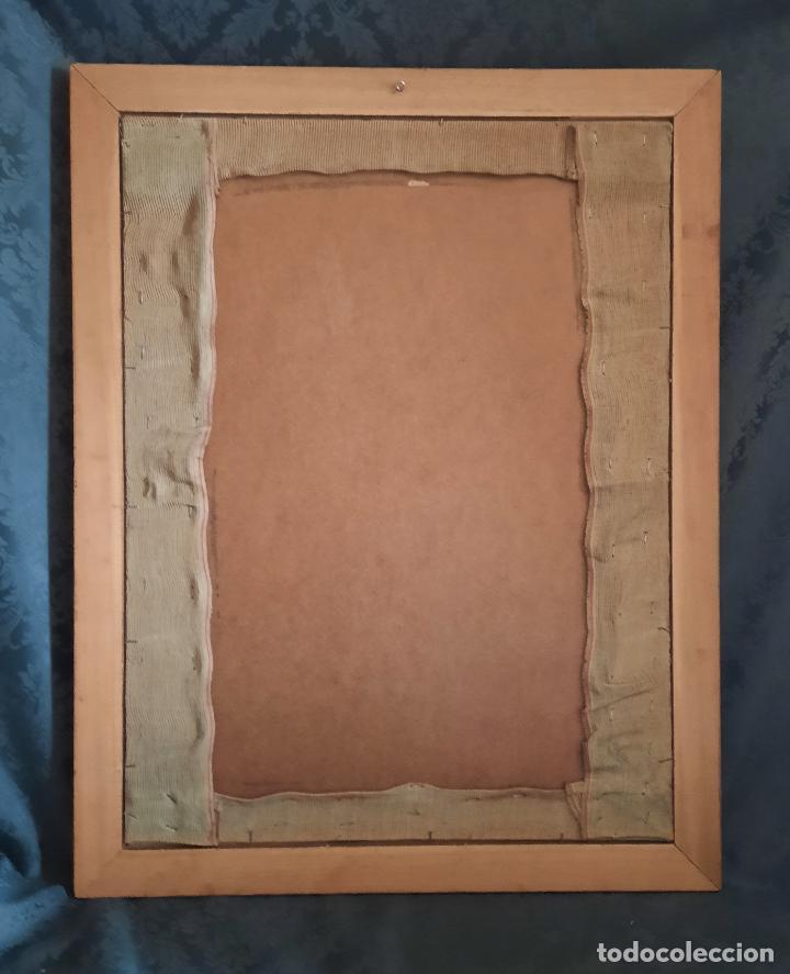 Vintage: BORDADO BAJO CRISTAL ENMARCADO. 58 x 74 cm. - Foto 7 - 293586183