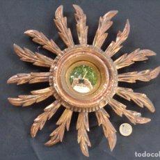 Vintage: ESPEJO DE SOL DE MADERA CRISTAL CONVEXO.. Lote 294461623