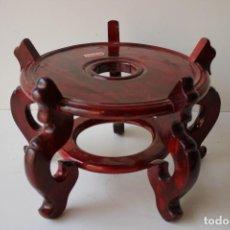 Vintage: PIE O PEANA DE MADERA PARA JARRON CHINO. Lote 295394423