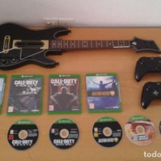 Xbox One: LOTE MICROSOFT XBOX ONE 2 MANDOS+ 6 JUEGOS+GUITAR HERO POWER TODO ORIGINAL LEER R8251. Lote 143314558